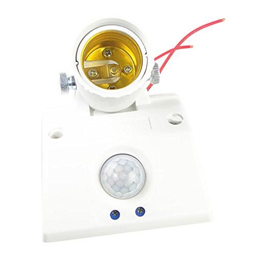 MERIGLARE Zócalo de La Lámpara Del Detector de Movimiento Del Tenedor de La Lámpara de La Bombilla de La Base de La Lámpara Del LED E27 con 360 °