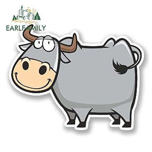 RSZHHL Sticker de Carro 13 cm x 8 cm Etiqueta engomada del Coche de Dibujos Animados Feliz Vaca Vinilo Etiqueta portátil Equipaje de Viaje Etiqueta Impermeable Accesorios de Coche