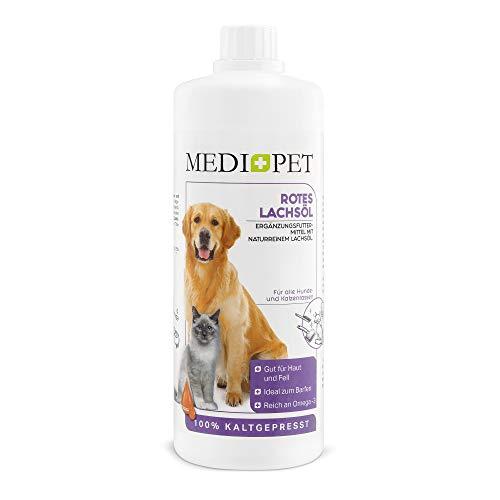 Medidog 1 Liter Rotes Premium Lachsöl für Hunde und Katzen, Lebensmitelqualität, reich an Omega-3 Fettsäuren EPA, DHA, ALA, Lachsöl Hunde kaltgepresst, Fischöl...