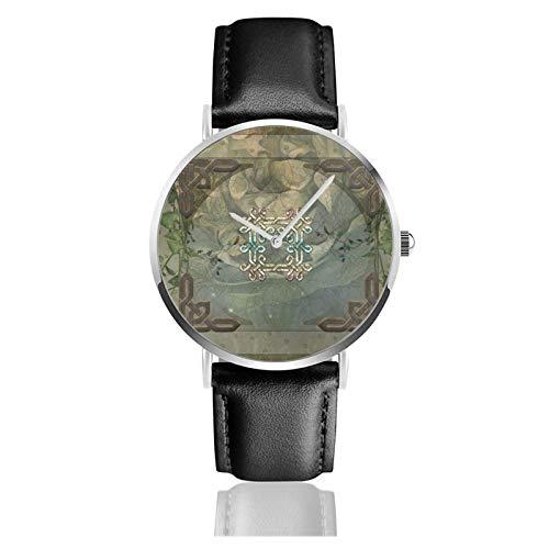 Maravilloso decorativo nudo celta clásico casual reloj de cuarzo acero inoxidable correa de cuero negro relojes de pulsera
