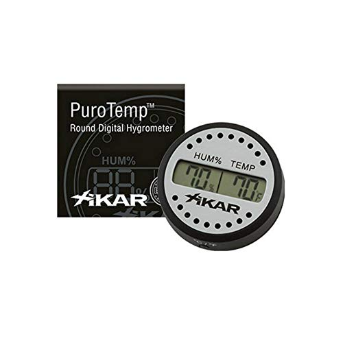 Xikar PuroTemp Round Digital Hygrometer, Accurate, 10-Second Refresh Rate