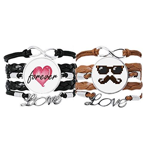Bestchong Armband für Herren, Sonnenbrille, Bart und Pixel, Handschlaufe, Lederseil, für immer Liebe, Doppel-Set
