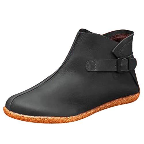Suitray Damen Stiefel Retro Flach Schuhe Herbst Winter Warm PU Leder Stiefeletten Freizeit Seitlicher Reißverschluss Flach Boots Party Dating Lederschuhe Pumps Strassenmode