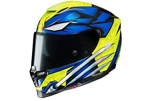 marvel motorcycle helmets HJC Unisex-Adult Full Face RPHA 70-ST Wolverine Motorcycle Helmet (Blue/Yellow, Medium)