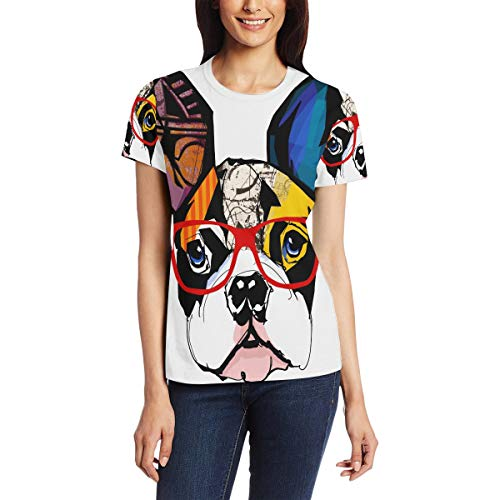 Camiseta para Mujeres niñas Coloridas Gafas de Sol de Bulldog francés Manga...