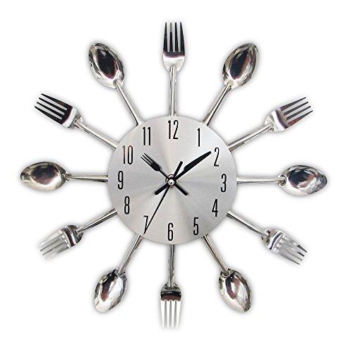 TimeLike - Orologio adesivo 3D da cucina, effetto specchiato, con motivo forchette e cucchiai, rimovibile, da arredamento 32*32*4CM argento
