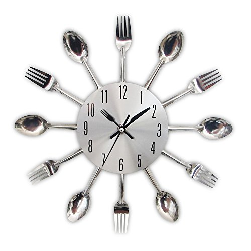 Timelike 3D Removable Modern Creative Cutlery Kitchen Spoon Fork Wall Clock Mirror Wall Decal Wall Sticker Room Home Decoration (Sliver)