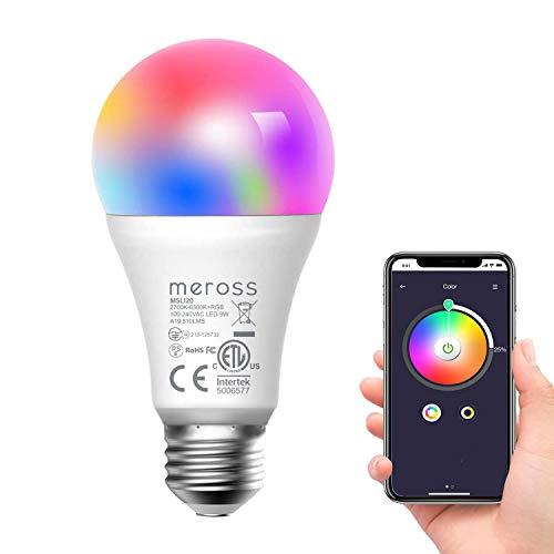 Smart LED Lampe, Meross WLAN dimmbare Glühbirne intelligente Mehrfarbige Birne Äquivalent 60W E27 2700K-6500K kompatibel mit Alexa, Google Home und SmartThings, Warmweiß