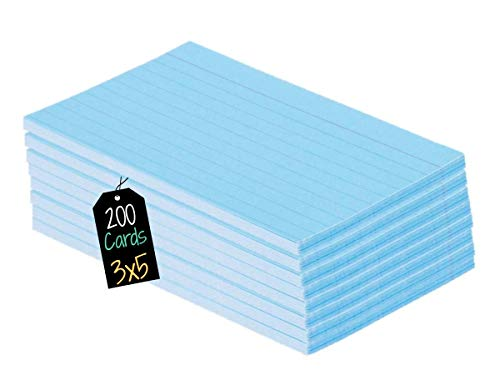 1InTheOffice Blue Colored Index Cards, Ruled Index Cards 3x5, Blue, 200/Cards