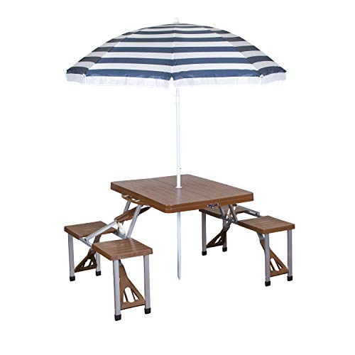 Stansport 615-45 Picnic Table and Umbrella Combo, Brown Woodgrain