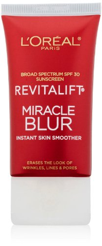 Moisturizer for Face, L'Oreal Paris Skincare Revitalift Miracle Blur Instant Skin Smoother Primer, Facial Cream with SPF 30 Sunscreen, 1.18 fl. oz.