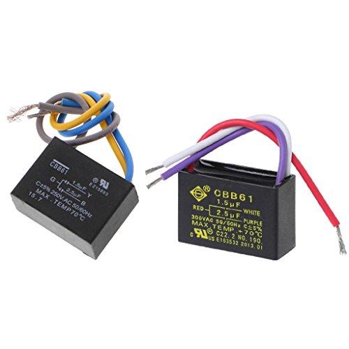 JENOR Negro CBB61 1.5uF + 2.5uF 3 cables AC 250V 50/60Hz condensador para ventilador de techo
