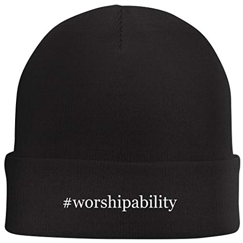 Tracy Gifts #Worshipability - Hashtag Beanie Skull Cap with Fleece Liner, Black, One Size