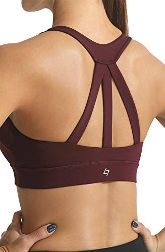 FITTIN Sujetador deportivo de tiras para mujer, sujetador corto para yoga, entrenamiento, gimnasio, fitness - rojo - X-Large