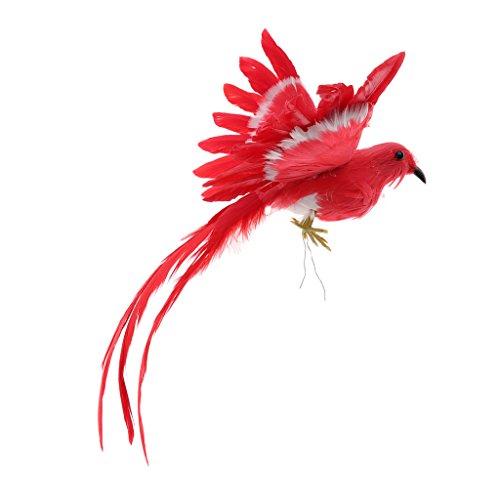 Gazechimp Pájaro Decorativo Ideal para Casa Jardín Patio Escaparate Fotografía Fiesta de Navidad Halloween - Cola roja