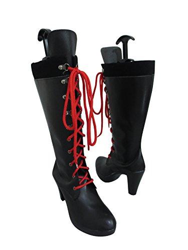 YuanCos Junko Enoshima Ultimate Fashionista Long Halloween Cosplay Shoes Boots (Female US 8.5/EU40) Black