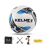 KELME サッカーボール 4号球 5号球 子供用 成人用 スポーツボール 耐摩耗 (9886120 ホワイト/ブルー,4号球)