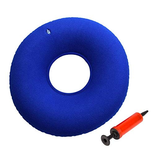 Inflatable Donut Cushion Pillow Ring Cushion Doughnut Pillow with Pump - Lumbar Support for Hemorrhoids, Bed Sores, Coccyx & Tailbone Pain, Child Birth, Prostatitis - Dark Blue