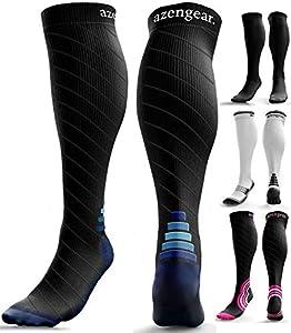 aZengear Calcetines de Compresión para Hombres y Mujeres - Medias de Compresion para Deporte - Maratones - Enfermeras - Estrés Tibial Interior - Durante Embarazo (L/XL (42-47), Negro/Azul)