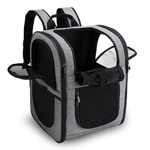 apollo walker Pet Carrier Backpack for Large/Small Cats and Dogs, Puppies, Safety Features and Cushion Back Support | for Travel, Hiking, Outdoor Use (Gray)
