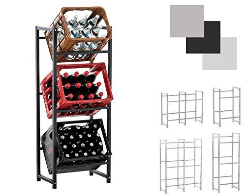 CLP Getränkekistenständer LENNERT I Platzsparender robuster Kistenständer für Getränkekisten I Verschiedene Ausführungen Schwarz, M