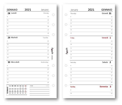 Ricambio agenda 2021 settimanale bianco (90 gr) 9,5 x 17 bilingua ricambio agenda organizer
