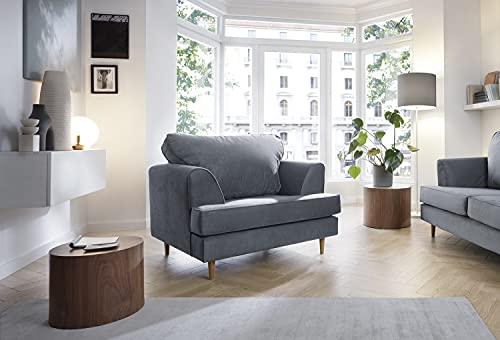 Harper 2- oder 3-Sitzer-Sofa, Liebe, Sessel, Couch in Dunkelgrau, wasserabweisender Samtstoff (Sessel)