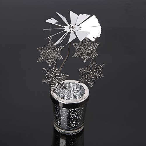 PTMD Kerzenhalter aus Metall im weihnachtlichen Stil, drehbar, Teelichthalter, Tischdekoration für zu Hause