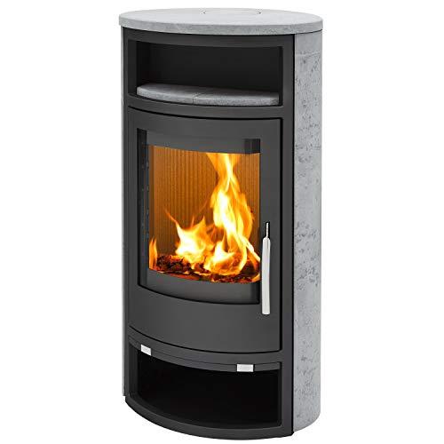 Kaminofen Dito M Stahl schwarz Speckstein Verkleidung mit Holzfach inkl. Abdeckplatte Heizofen Holzofen mit selbstschließender Tür Energieeffizienzklasse A 6,5kw