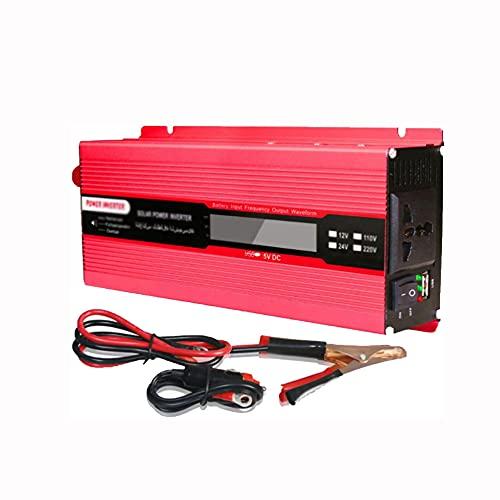COUYY Inversor de generador de Emergencia al Aire Libre 12V / 24V DC a 110V / 220V CA Convertidor de automóvil con Puntos de Venta de CA y Puertos USB,24vto220v