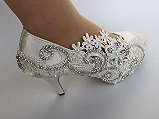 Mrs. Wedding Glitter High Heels Ivory White Pumps Sparkly Ivory Wedding Shoes Yellow Accent Last Name Heels