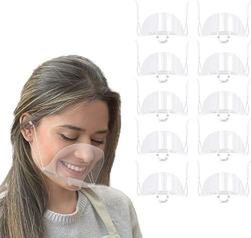 ANEAR pantalla de plástico de 10 piezas con banda elástica ajustable, película protectora anti-salpicaduras y saliva para restaurante, hotel, salón de trabajo