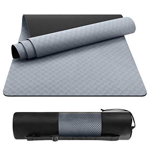 EgoIggo Tapis de Sport Tapis Yoga en TPE Matériaux Recyclable Tapis Fitness Sol Antidérapant et Durable avec Sac de Transport pour Fitness Pilates Gym 183x61cmx0.6 cm(Gris)