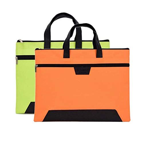 Ptom Document Bag Zipper Business Document Bag Waterproof Briefcase Multi-Purpose for Storing Files Notebooks Stationery 14 x 11 Inches (Black) (Orange + Green)