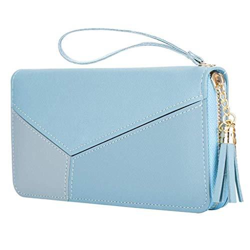 PALAY® Women's Long Wallet Tassel PU Leather Multi- Slots Girls Zipper Coin Large Purse (Blue)