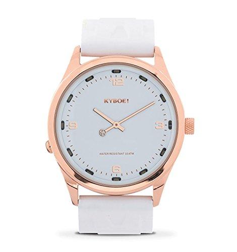 KYBOE! Reloj de cuarzo de acero inoxidable y silicona (modelo: rosa blanco)