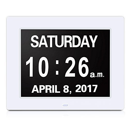 YENOCK 8 Inch Day Clock, Weather Report 9 Weather Display Day Clock,5 Alarm Options, Extra Large Digital Days Clock Ideal for Memory Loss Alzheimer Elderly Senior
