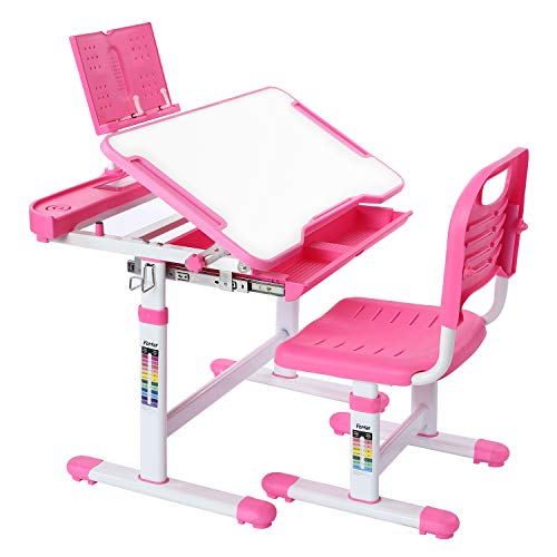 Forfar Kids Desk and Chair Set, Child Homeschool Desk, Kids School Desk, Height Adjustable Ergonomic Design Students Writing Desk with Tilt Desktop Storage Drawer Bookstand for Boys & Girls (Pink)