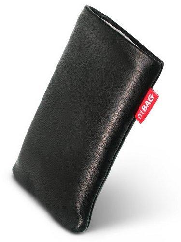 fitBAG Beat Schwarz Handytasche Tasche aus Echtleder Nappa mit Microfaserinnenfutter für Nokia 3720 Classic