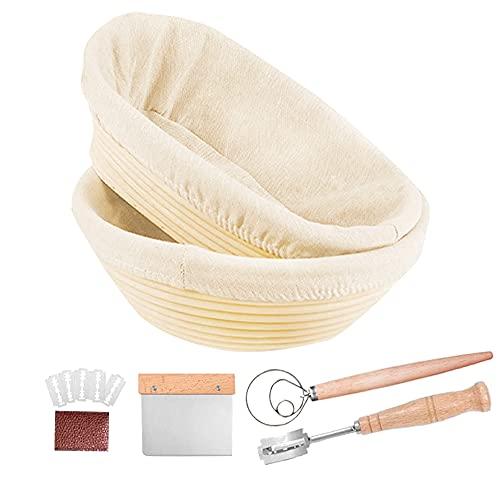 PITCH PULSE Cesta de Fermentación de Pan, Banneton 10' Ovalada + 9' Redondo, Brotform Cuenco de Ratán Natural para Pan y Masa
