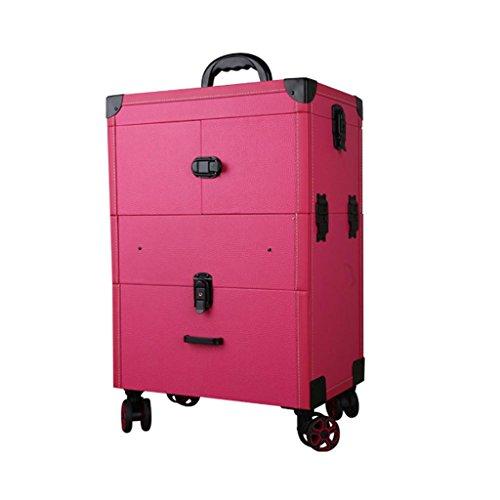 Boîte cosmétique Case-Trolley Portable Cosmetic Box de stockage Beauté et maquillage Trolley Artist Case Boîte à outils multi-couche Grande capacité Double Row Universal Wheel pratique