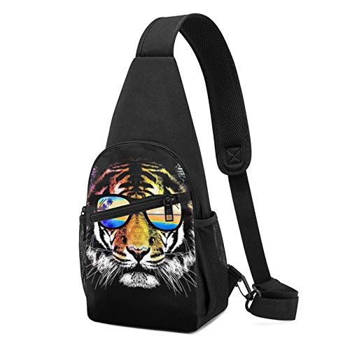 Sling Bag for Men Anti-Theft Shoulder Backpack Tiger with Summer Sunglasses Hawaii Chest Bags Adjustable Cross Body Lightweight Daypack Outdoors & Gym