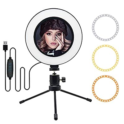 """MOUNTDOG 6"""" Selfie LED Ring Light with Stand Circle Lighting Remote Control for Make-up/YouTube Video/Live Streaming Dimmable 3 Light Modes Mini Desktop from MOUNTDOG"""