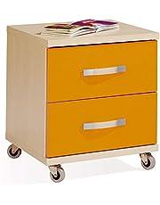 Miroytengo Mueble Auxiliar mesita 2 cajones Ruedas Color Haya y Naranja habitacion Juvenil despacho 47x41x40