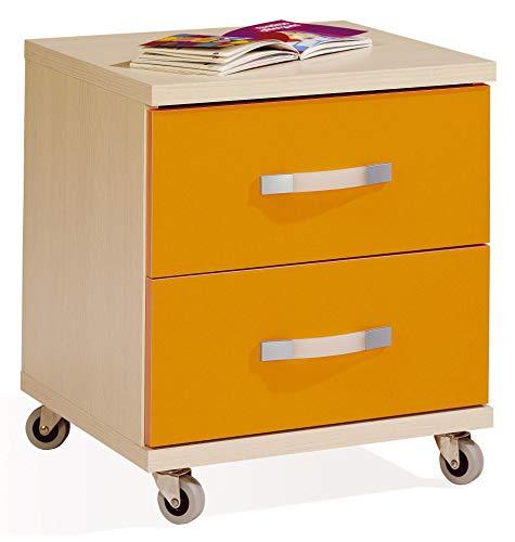 Miroytengo Mueble Auxiliar mesita 2 cajones Ruedas Color Haya y Naranja habitacion Juvenil despacho...