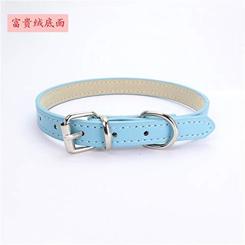 Ocamo hondenhalsband, Dog Collar - Zachte halsband met hondenhalsband voor kleine kattenpuppy's, XXS: 30*1.0 cm, Rich plush broek: lichtblauw