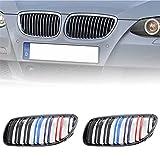 Cobear Rejillas Frontales de Riñón reemplazo para BMW E92 E93 316i 320d 320i 323i 325d 325i 330i 2010-2014, Par Doble Puente Rejilla Frontal riñón Delanteras ABS Rejillas Grill Grills Negro Brillante