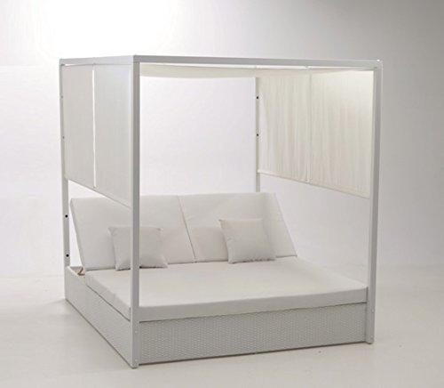 Cama balinesa Rattan Aluminio Blanco