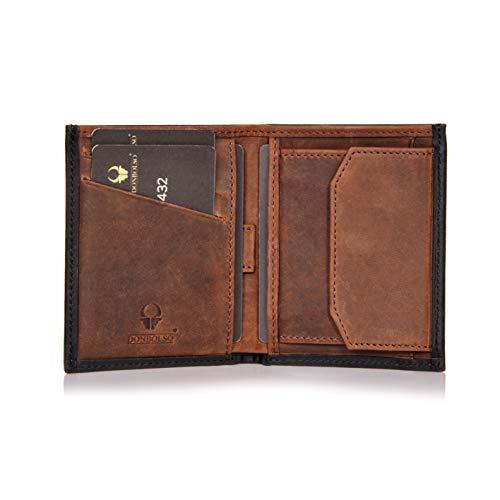 DONBOLSO® Rom I Mini Geldbörse mit RFID-Schutz I Slim Wallet mit Münzfach I echtes Leder I Geldbeutel in Schwarz/Braun Vintage
