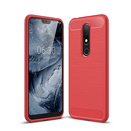 WANTONG Funda de Piel Funda Protectora para Nokia 6.1PLUS / X6 Caja de Fibra de Carbono Textura TPU a Prueba de choques TPU Anti-Shock Teléfono móvil Resistente al teléfono móvil Funda Protectora